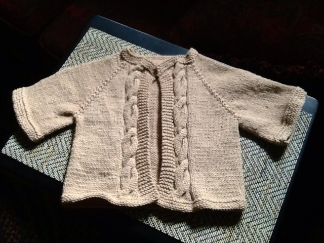 Baby sweater for coworker.