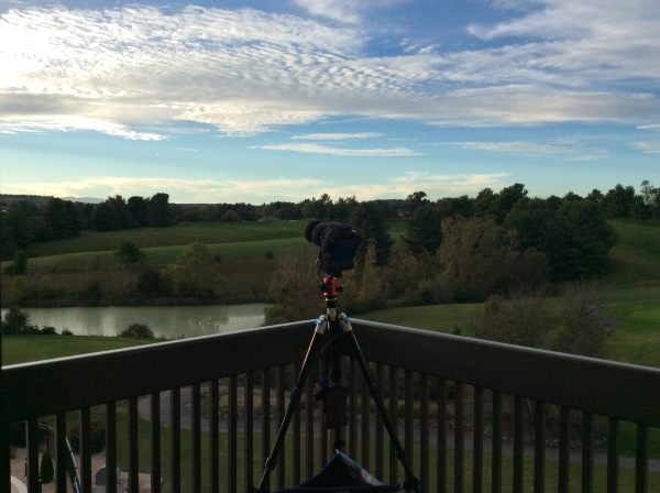 My husband's camera all set up and ready to take a timelapse of the setting sun, in Staunton, Virginia