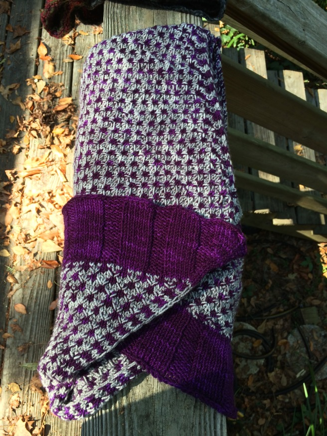 This purple and gray wrap will soon be wrapped up and sent to a friend who has cooler temperatures this time of year than I do.