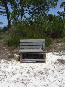 Cute bench but too hot to rest my butt!